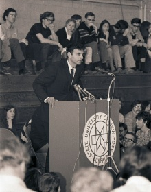 Ralph Nader at a podium speaking at UB on the first Earth Day in 1970.